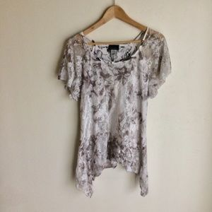 Brittany Black Lace Lined Blouse White Taupe Sz L